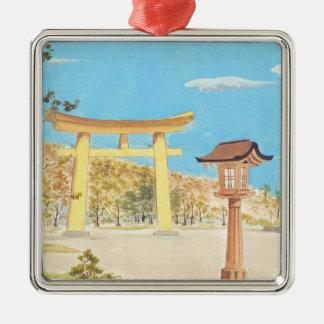 大和の神聖な場所の景色のFukuharaの神社 メタルオーナメント