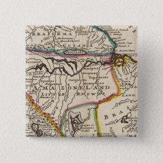大地Firma、ペルーのAmazoneの土地、ブラジルの地図 5.1cm 正方形バッジ