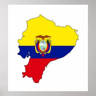 大型エクアドルの旗の地図 ポスター