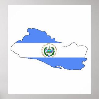 大型エルサルバドルの旗の地図 ポスター