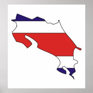 大型コスタリカの旗の地図 ポスター