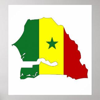 大型セネガルの旗の地図 ポスター