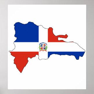 大型ドミニカ共和国の旗の地図 ポスター