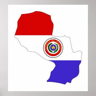 大型パラグアイの旗の地図 ポスター