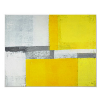 「大声で」灰色および黄色の抽象美術 ポスター