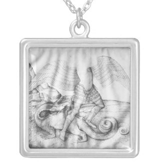 大天使セントマイケル、c.1450 シルバープレートネックレス