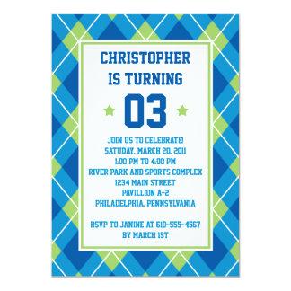 大学のスタイルの青及び緑のアーガイル5X7の誕生日 カード