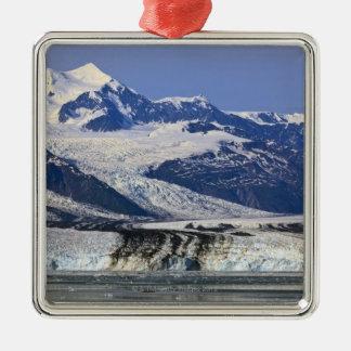 大学フィヨルド、アラスカ2のハーバード氷河 シルバーカラー正方形オーナメント