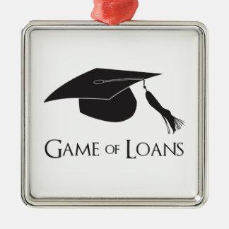 大学卒業の貸付け金のゲーム シルバーカラー正方形オーナメント