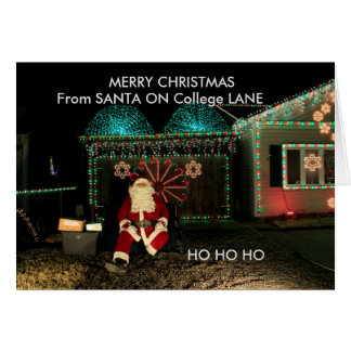 大学車線のサンタクロースのクローズアップのクリスマスカード カード