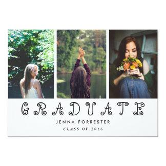 大学院のかわいい原稿3の写真の卒業パーティー カード