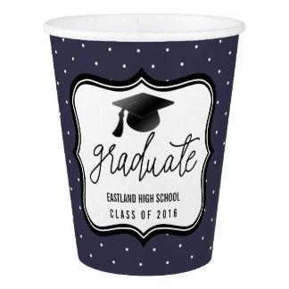 大学院の原稿のBlack Hat会議|の濃紺の水玉模様 紙コップ