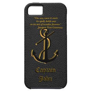 大尉のため、Iphone 5場合の黒いレザールック iPhone SE/5/5s ケース