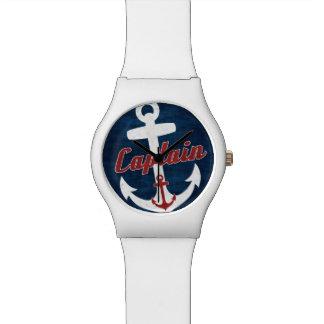 大尉の航海のないかりの腕時計の赤い青 腕時計