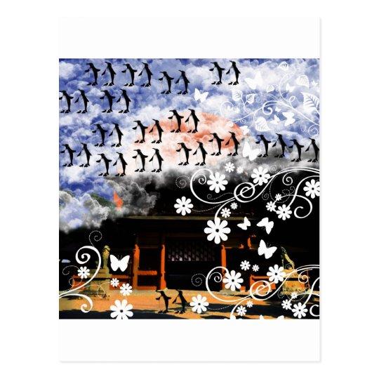 大山祇神社と花とペンギン ポストカード