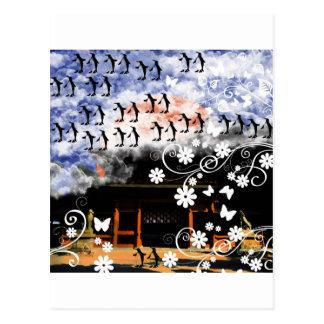 大山祇神社と花とペンギン 葉書き