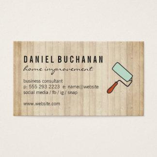 大工仕事の木製のペンキローラー 名刺