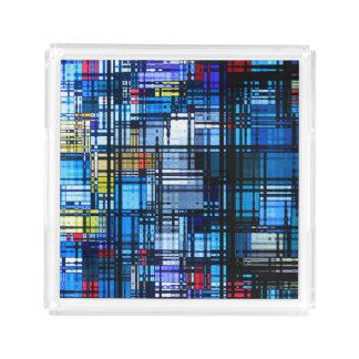 大抵青いモダンの抽象芸術 アクリルトレー