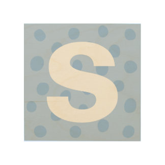 大文字の子供の部屋の装飾が付いている青い点 ウッドウォールアート