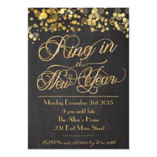 大晦日の招待状のグリッターのリング カード
