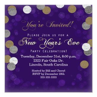 大晦日の紫色のパーティの招待状 カード