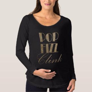 大晦日の金ゴールドおよび黒の破裂音のフィズのClink マタニティTシャツ
