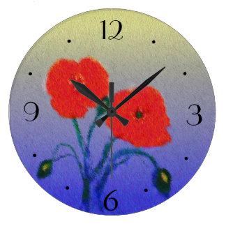 大気Poppie Flowers>の台所時計 ラージ壁時計