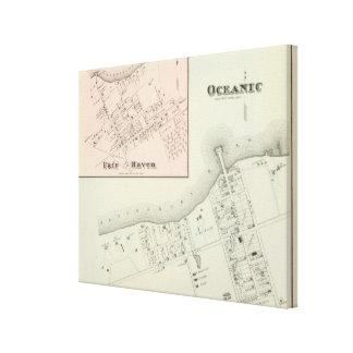 大洋性および公平な避難所、NJの地図 キャンバスプリント