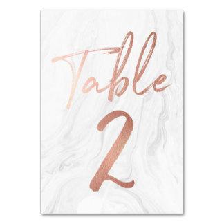 大理石およびばら色の金ゴールドの原稿|のテーブル数カード2 カード