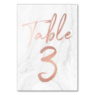 大理石およびばら色の金ゴールドの原稿|のテーブル数カード3 カード