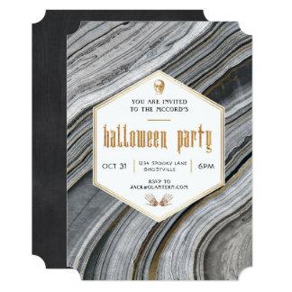 大理石および金ゴールドのハローウィンパーティの招待状 カード