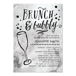 大理石のブランチおよび快活なブライダルシャワーの招待状 カード