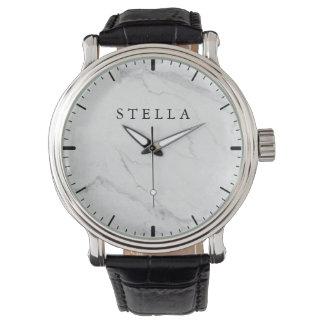 大理石のモノグラムのな腕時計 腕時計