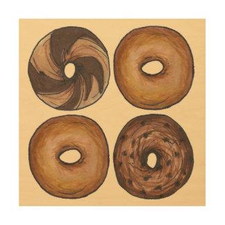 大理石のライの明白なシナモンNYCの朝食のベーゲルの食糧 ウッドウォールアート