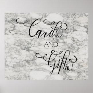 大理石の書道は印を結婚するギフトを梳きます ポスター