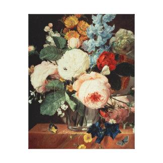 大理石の棚の花のつぼ キャンバスプリント