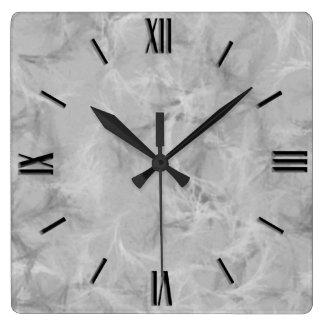 大理石の渦巻のプリント-静かに灰色 スクエア壁時計