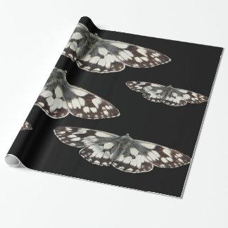 大理石の白い蝶デザインの包装紙 ラッピングペーパー