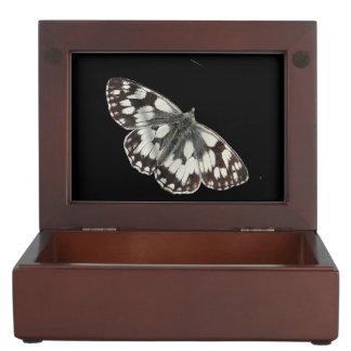 大理石の白い蝶デザインの宝石箱 ジュエリーボックス