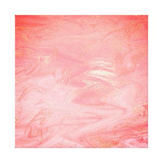 大理石の石の抽象芸術の金珊瑚の明るい波 キャンバスプリント