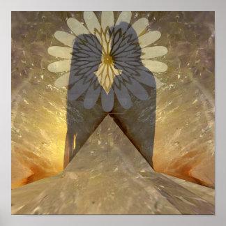 大理石の石造りの影の愛情のあるカップルの官能的なロマンチック ポスター