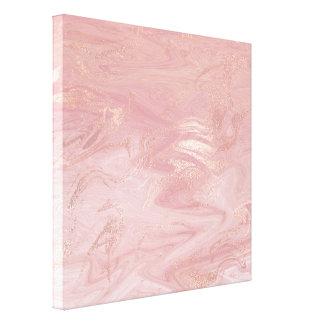 大理石の石造りの溶解した金ゴールドの抽象芸術のピンクのバラの金ゴールド キャンバスプリント