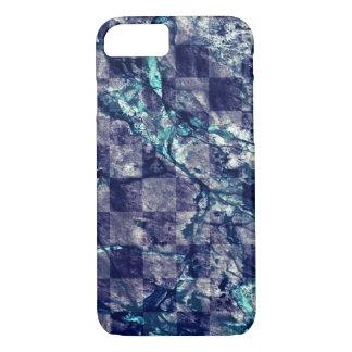 大理石の紫色のインディゴのティール(緑がかった色)の青いGeodeの揚げられていた切れ iPhone 8/7ケース