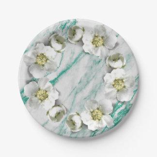 大理石のTiffanyのエメラルドの花のリースのグリッター ペーパープレート