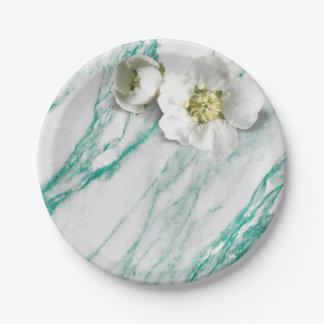 大理石のTiffanyの真新しいエメラルドの白いジャスミンのグリッター ペーパープレート