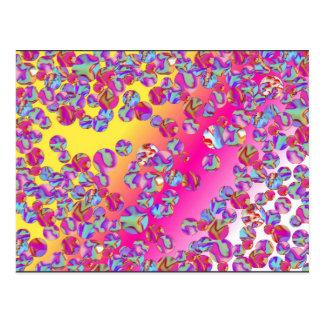 大理石パッチのデジタル芸術の郵便はがきの黄色のピンクの青 ポストカード