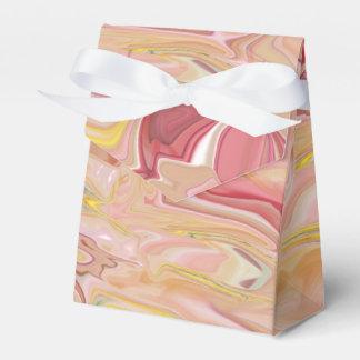 大理石模様をつけられたピンクの抽象芸術のテントの好意箱 フェイバーボックス