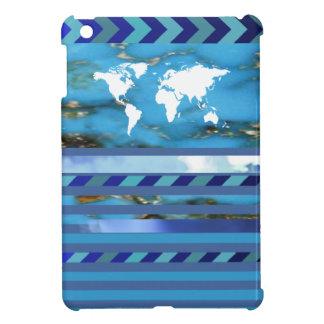 大理石模様をつけられる青い縞のターコイズ iPad MINIカバー