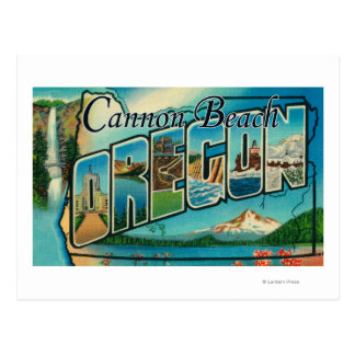 大砲のビーチ、オレゴン-大きい手紙場面 ポストカード
