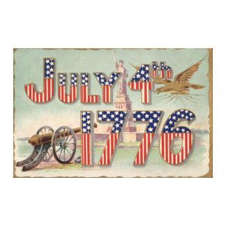 大砲自由の女神は主演しましたり及び縞で飾ります キャンバスプリント